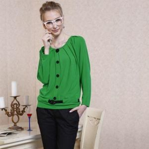 Fashion Ladies′ Cotton Tops (11s185)