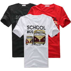 2011 Let′s Go to School Bus Printing T-Shirt