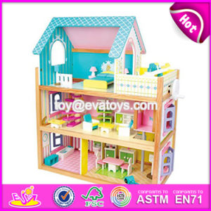 Best Design Toddlers Pretend Toys Wooden Crafted Small Dollhouse with Furniture W06A231 pictures & photos