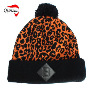 Leopord Jacquard Beanie Caps pictures & photos