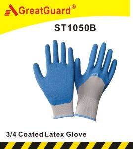 3/4 Coated Crinkle Surface Latex Glove (ST1050) pictures & photos