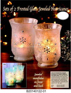 Set of 2 Frosted Jeweled Hurricanes (FD-03) pictures & photos