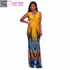 Stephanelle Orange Ombre Multicolor Print Maxi Dress L51412 pictures & photos