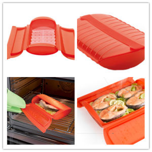 Microwave Usage Plastic Material Silicone Steam Container/Box/Case