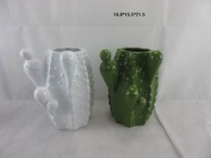 Ceramic Cactus Shape Vase for Home Decoration pictures & photos