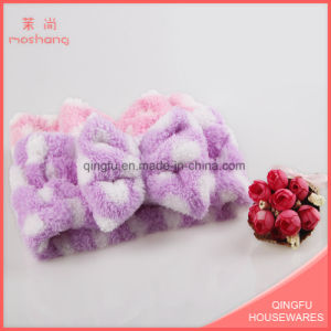 Wash Face Coral Fleece Spotted Headband with Bowknot pictures & photos