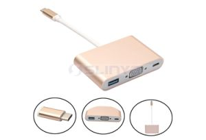 3 in 1 Multi Port Male USB3.1 Type C to Female VGA Adapter + USB3.0 + Type C Adapter Cable for MacBook Laptop pictures & photos