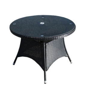 Gray Outdoor Garden Patio Furniture Rattan Round Dining Table with Glass pictures & photos