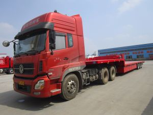 17.5 Meters Super Light Low Bed Flatbed Semitrailer with Semitrailer pictures & photos