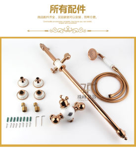 New Design Chinese Blue-and-White Ceramic Single Handle Zf-609 Brass Rain Shower Set pictures & photos