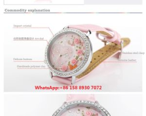 Pink Romance Quartz Women′s Watch with Genuine Leather Strap Fs603 pictures & photos