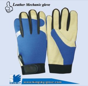 Pig Grain Leather Palm Mechanic Work Glove (Leather Glove-Mechanic Glove) pictures & photos