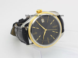 Custom Sports Gold Tone Leather Band Automatic Wrist Watch Men pictures & photos