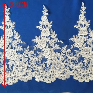 White Rayon Beaded Bridal Lace Used on Wedding Gown pictures & photos