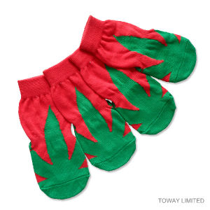 Anti Skid Printing Paws Christmas Green Dog Socks Pet Shoes pictures & photos