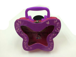 Butterfly Lunch Tin Box with Plastic Handle and Metal Latch