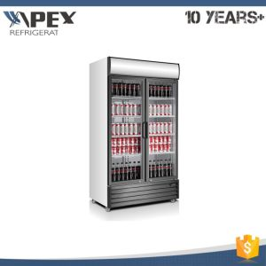 Double Glass Door Beverage Chiller Refrigerator for Supermarket pictures & photos