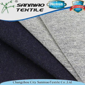 Indigo 330GSM Cotton Terry Knitting Knitted Denim Fabric for Jeans pictures & photos