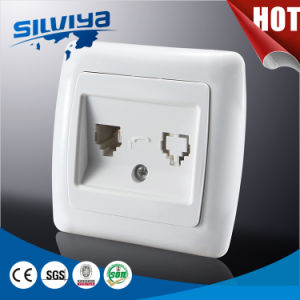 White Color Double Telephone Wall Socket pictures & photos