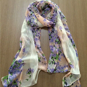 Fashion and Artistical Screen Printing Poly Chiffon Scarf pictures & photos
