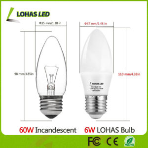 3W 5W 6W Milky White Shell 3000k 6000k E26 E27 LED Candle Light Bulb pictures & photos