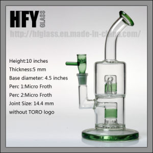 in Stock Toro Glass Double Micro Froth Thick Smoking Glass Water Pipe Hookah Hand Blown Heady Tobacco Bubbler Wholesale pictures & photos