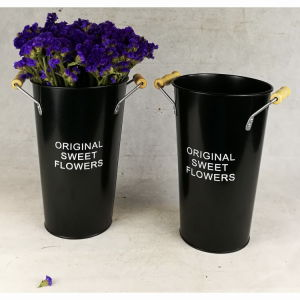 Black Tin Galvanized Round Garden Pot Flower Pot pictures & photos