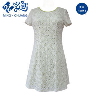 White Round Collar Short Sleeve Slim Rear-Zipper A-Line Fashion Dress pictures & photos