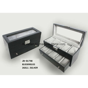 Customized Handmade Black Leather Watch Box pictures & photos