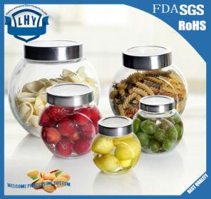 Round Glass Bottle for Placing Nuts. Honey Bottle. Jam Jar