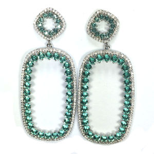 925 Hotselling Sterling Silver Earrings with Oval Shape Around White CZ (E6863) pictures & photos