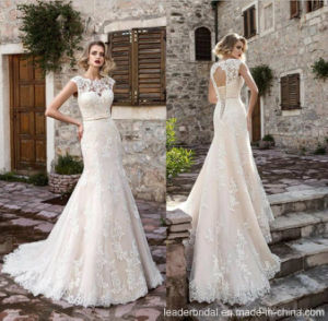 Lace Tulle Bridal Gown Cap Sleeves Mermaid Wedding Dresses Jv2018 pictures & photos