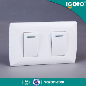 Igoto America Style Electrical 2 Gang 1 Way Switch 2 Gang 2 Way Wall Switch pictures & photos