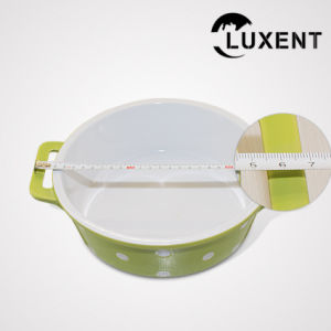 Portable Porcelain Cooking Color Circular Cake Pan with Ears pictures & photos