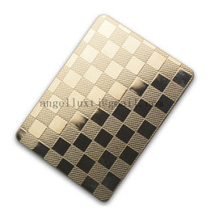 Competitive Price ASTM 304 Linen Pattern Embossed Cold Rolled Stainless Steel Sheet for Kitchen Checkout Counter Door Decoration Panel pictures & photos