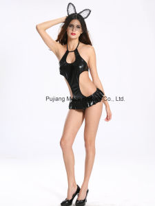 Ladies Sexy Halter PU Erotic Teddy with Microskirt 8004 pictures & photos