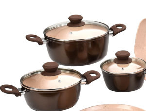 Ceramic Coated Forged Aluminum Pots and Pans Cookware Set pictures & photos