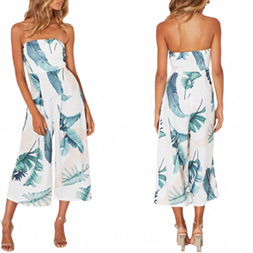Fashion Women Chiffon Printed Wrapped Chest off Shoulder Jumpsuit Dress pictures & photos