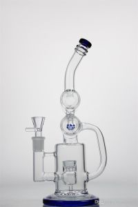 9.5′′glass pipe Water Pipe with Double Cask and Percolator Recycler Glass Smoking Pipe with Hamburger and Percolator Recycler pictures & photos