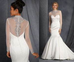 Embellished High Neck Bridal Wedding Dress UK pictures & photos