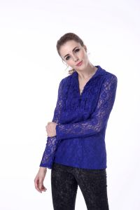 Ladies Blouse Neck Models Blue Lace Blouse for Fat pictures & photos