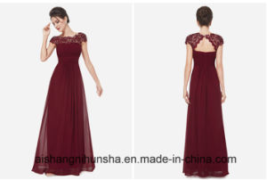 Empire Lace Pleat Party Gown Mariage Long Evening Dress pictures & photos