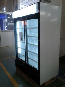 1200liter Sliding Door Upright Cooler in Supermarket pictures & photos