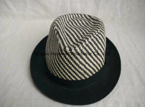 Mixed Color Sewn Braid Fedora Straw Hat