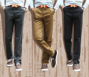 P11411 2015 Spring Autumn Winters in Thick Cotton Men Straight Thin Tall Waist Cotton Fashion Leisure Trousers 120cm pictures & photos