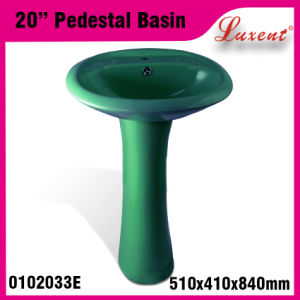 Ceramic Econormic Colourfull Two Piece Hand Wash Pedestal Basin pictures & photos