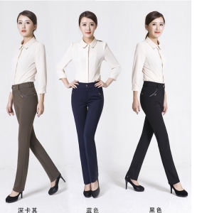 Women High Waist Elastic Wide Leg Pants pictures & photos