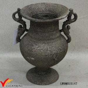 Classy Rusty Grey Pedestal Cast Iron Flower Antique Metal Vase pictures & photos