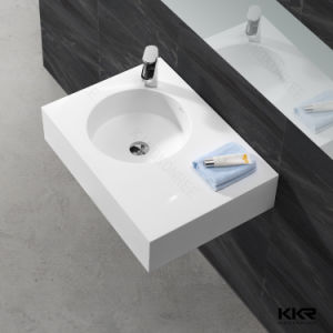 Top Quality Resin Stone Corian Bathroom Wall Hung Basin pictures & photos