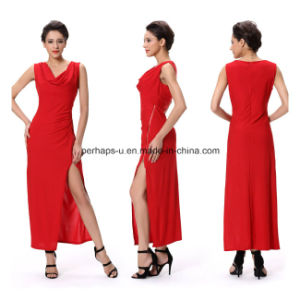 Fashion Red Night Evening Sexy Long Dress Sleeveless Ladies Wear pictures & photos